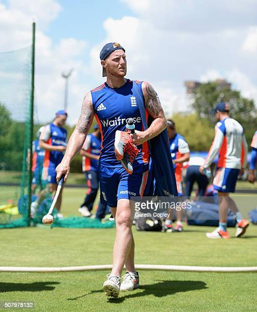 Ben Stokes of England walks to the nets during a nets session at Mangaung Oval on February 2 2016 in Bloemfontein South Africa