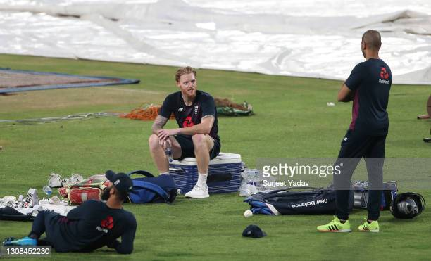 Ben Stokes of England watches on during a England Net Session at Maharashtra Cricket Association Stadium on March 22, 2021 in Pune, India.
