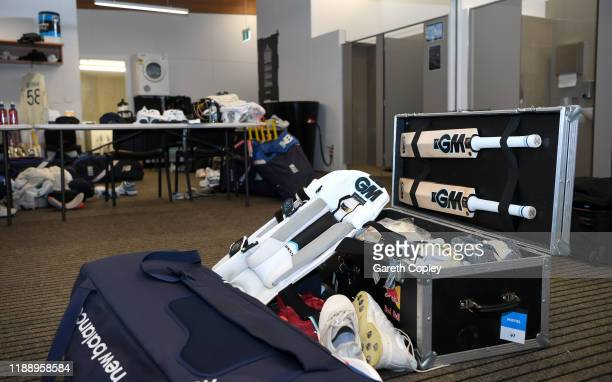 Ben Stokes of England's kit in the England dressing room ahead of day one of the first Test match between New Zealand and England at Bay Oval on...