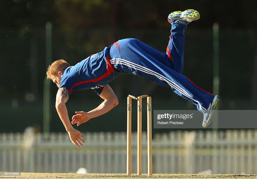 Ben Stokes of the Lions falls after attempting a run out during the International Tour match between the Victoria Bushrangers and England Lions at Junction Oval on February 11, 2013 in Melbourne, Australia.