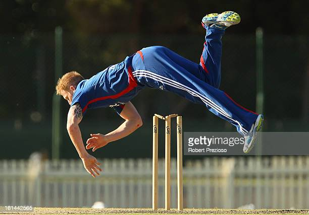 Ben Stokes of the Lions falls after attempting a run out during the International Tour match between the Victoria Bushrangers and England Lions at...