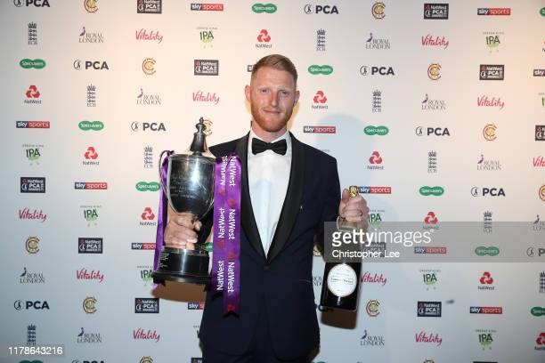 Ben Stokes poses for the camera with the Reg Hayter Cup for the NatWest PCA Players Player of the Year the 50th NatWest PCA Awards at The Roundhouse...