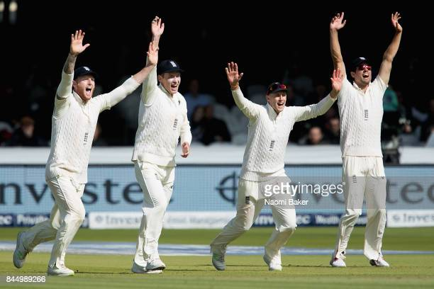 Ben Stokes Tom Westley Joe Root and Alastair Cook celebrate during England v West Indies 3rd Investec Test Day Three at Lord's Cricket Ground on...