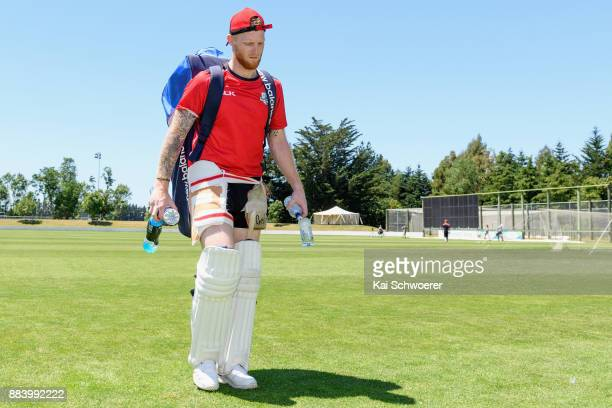 Ben Stokes walks from the ground following a Canterbury training session on December 2 2017 in Rangiora New Zealand