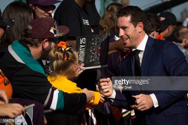 Ben Street of the Anaheim Ducks talks with fans prior to opening night against the Detroit Red Wings on October 8 2018 at Honda Center in Anaheim...