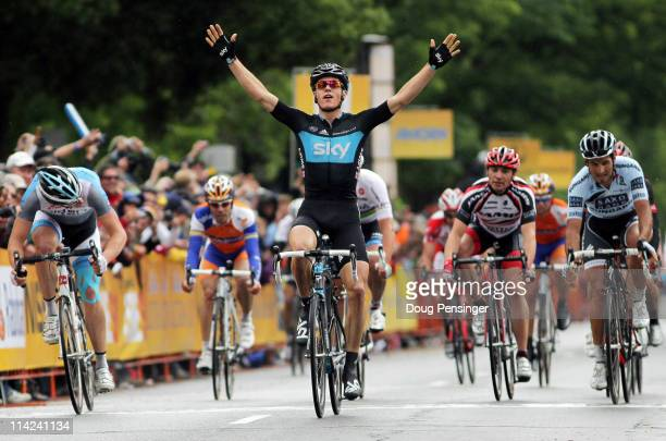 Ben Swift of Great Britain and riding for Sky Procycling out sprints the field to win stage two of the 2011 AMGEN Tour of California from Nevada City...