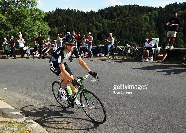 Ben Swift of Great Britain and SKY Procycling rides on stage nine of the 2011 Tour de France from Issoire to Saint Flour on July 10 2011 in...