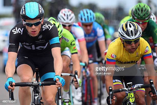 Ben Swift of Great Britain and Team SKY and Miguel Rubiano of Colombia and Team Colombia in action during the fifth stage of the 2014 Giro d'Italia a...