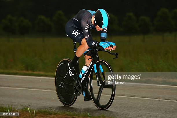 Ben Swift of Great Britain and Team SKY in action during the twelfth stage of the 2014 Giro d'Italia a 42km Individual Time Trial stage between...