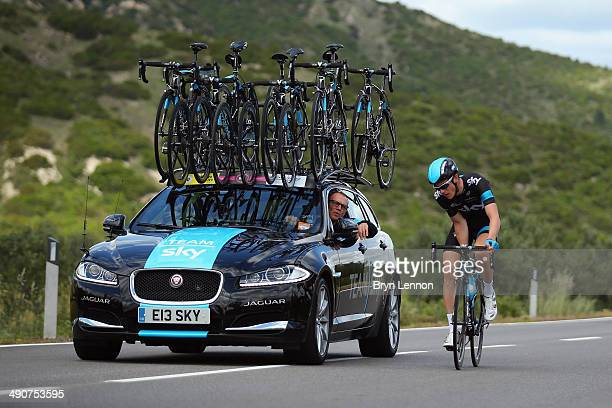 Ben Swift of Great Britain and Team SKY talks to the team car during the fifth stage of the 2014 Giro d'Italia a 203km medium mountain stage between...