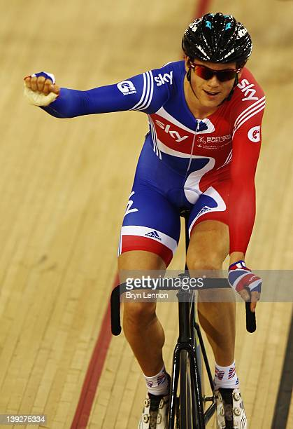 Ben Swift of Great Britain celebrates finishing first in the Men's Omnium Scratch Race during the UCI Track Cycling World Cup LOCOG Test Event for...