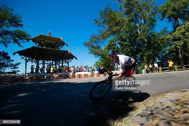 Ben Swift of Great Britain competes during the International Road Cycling Challenge test event ahead of the Rio 2016 Olympic Games at Vista Chinesa...