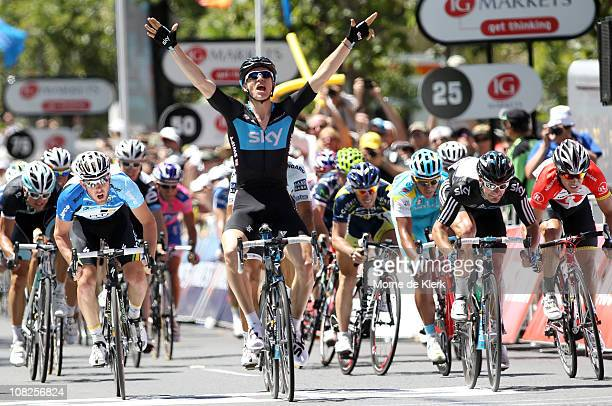 Ben Swift of Great Britian and Team Sky Procycling celebrates as he crosses the finish line to win Stage Six of the 2011 Tour Down Under on January...