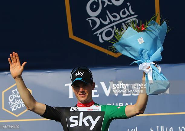 Ben Swift of Sky Team poses on the podium after winning the intermediate sprint in the first stage of the Dubai Tour from Dubai International Marina...