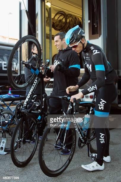 Ben Swift of Team SKY prepares his bike ahead of a training ride on February 4 2014 in Palma de Mallorca Spain