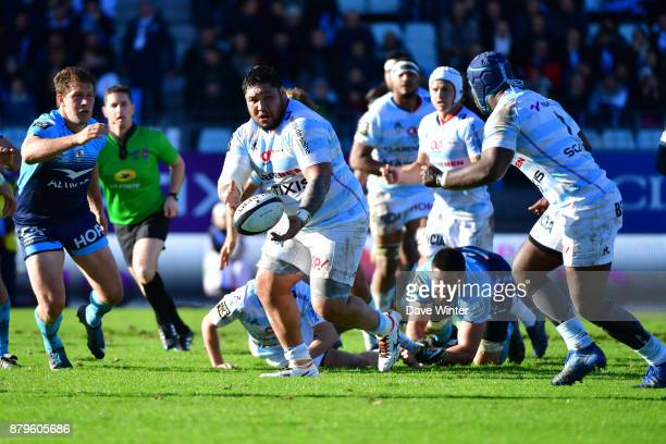 Ben Tameifuna of Racing 92 returns from suspension for the Top 14 match between Racing 92 and Montpellier on November 26 2017 in Paris France