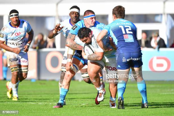 Ben Tameifuna of Racing 92 tries to break out of defence during the Top 14 match between Racing 92 and Montpellier on November 26 2017 in Paris France