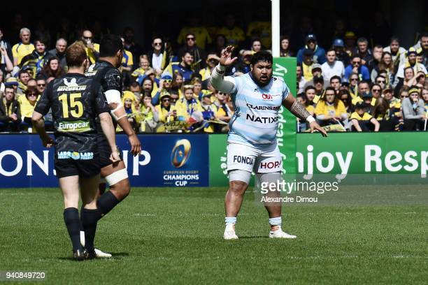 Ben Tameifuna of Racing during the Champions Cup match between ASM Clermont and Racing 92 on April 1 2018 in Clermont France
