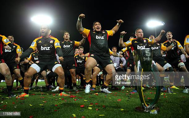 Ben Tameifuna of the Chiefs leads a celebratory haka following the Super Rugby Final match between the Chiefs and the Brumbies at Waikato Stadium on...