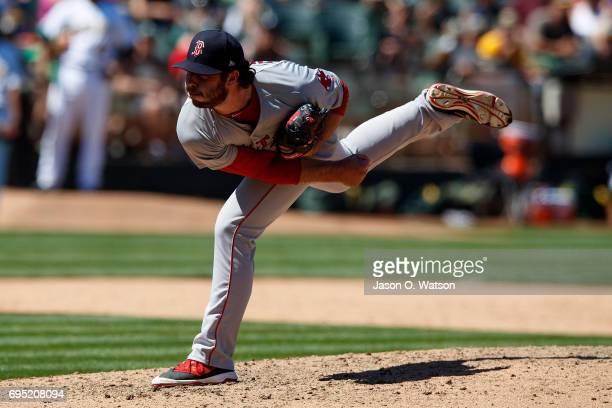 Ben Taylor of the Boston Red Sox pitches against the Oakland Athletics during the fifth inning at the Oakland Coliseum on May 20 2017 in Oakland...