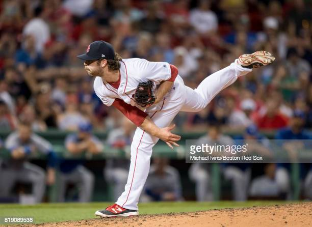 Ben Taylor of the Boston Red Sox pitches against the Toronto Blue Jays in the ninth inning at Fenway Park on July 19 2017 in Boston Massachusetts