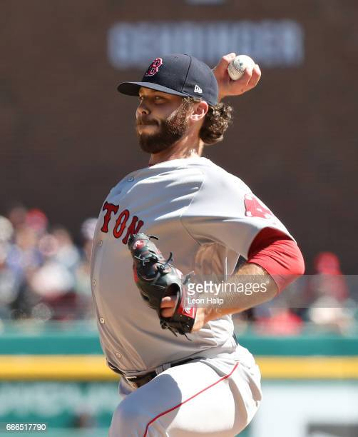 Ben Taylor of the Boston Red Sox pitches during the sixth inning of the game against the Detroit Tigers on April 8 2017 at Comerica Park in Detroit...