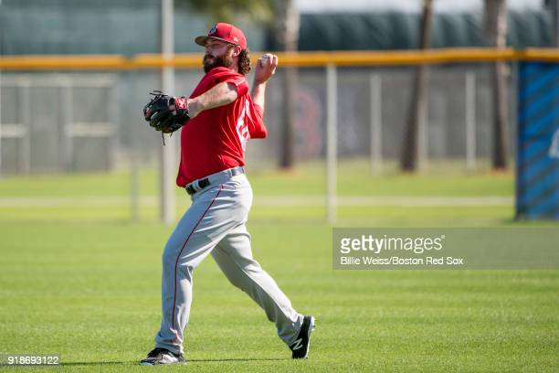 Ben Taylor of the Boston Red Sox throws during a team workout on February 15 2018 at Fenway South in Fort Myers Florida