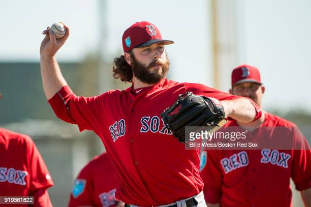 Ben Taylor of the Boston Red Sox throws during a team workout on February 17 2018 at jetBlue Park at Fenway South in Fort Myers Florida