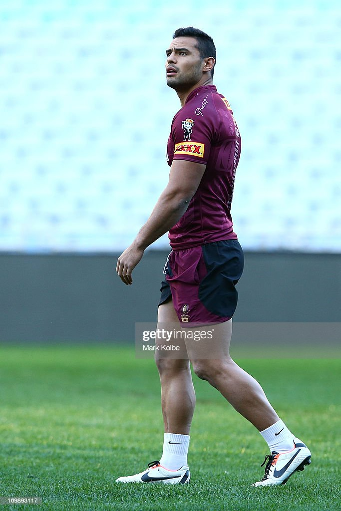 Ben Te'o looks on during a Queensland Maroons state of origin training session at ANZ Stadium on June 4, 2013 in Sydney, Australia.