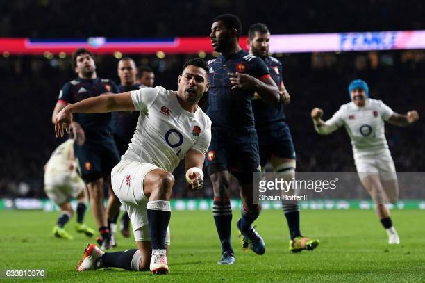 Ben Te'o of England celebrates scoring his side's first try during the RBS Six Nations match between England and France at Twickenham Stadium on...
