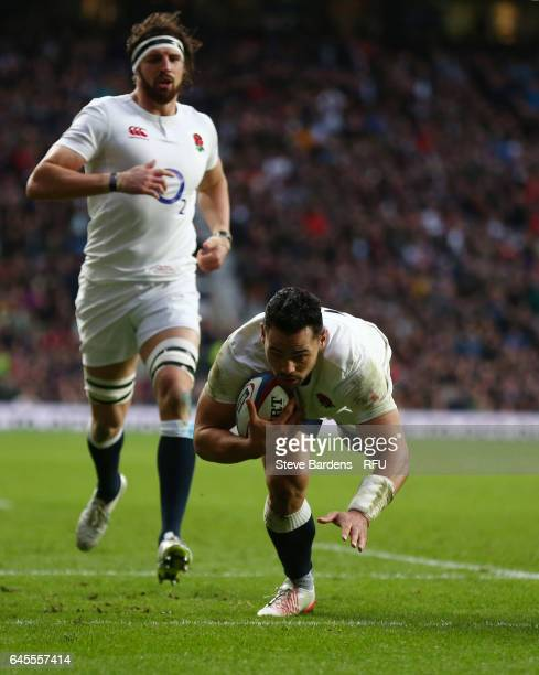 Ben Te'o of England dives over to score his team's fifth try during the RBS Six Nations match between England and Italy at Twickenham Stadium on...