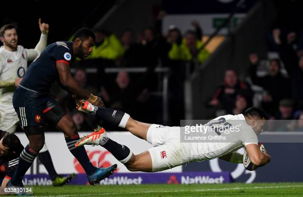 Ben Te'o of England dives to score his side's first try during the RBS Six Nations match between England and France at Twickenham Stadium on February...