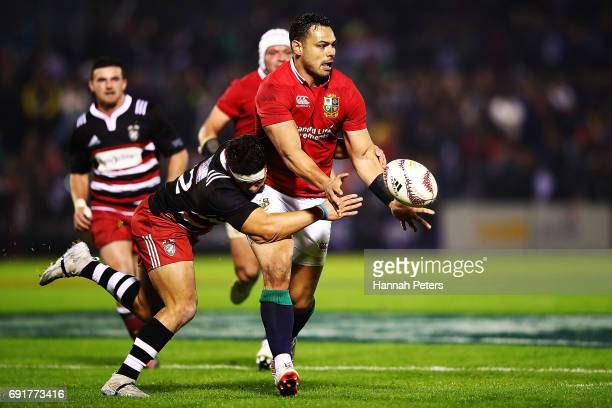 Ben Te'o of the Lions passes the ball out during the match between the New Zealand Provincial Barbarians and British Irish Lions at Toll Stadium on...