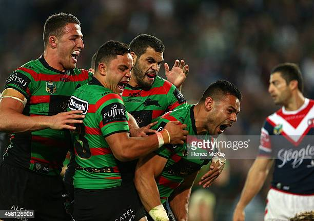 Ben Te'o of the Rabbitohs celebrates his try during the First Preliminary Final match between the South Sydney Rabbitohs and the Sydney Roosters at...