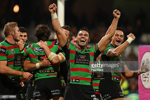 Ben Te'o of the Rabbitohs celebrates Joel Reddy's try during the round 13 NRL match between the South Sydney Rabbitohs and the New Zealand Warriors...