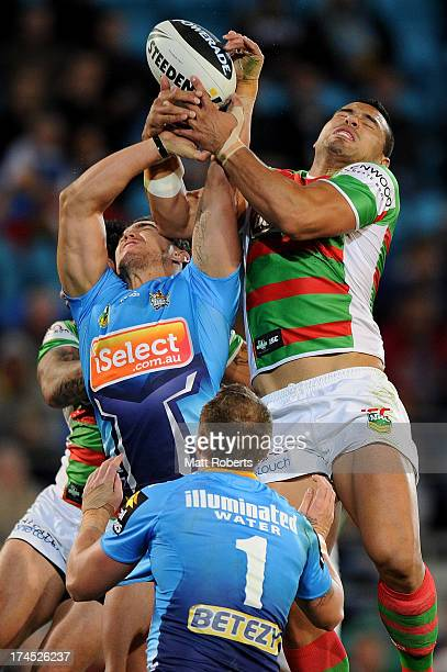 Ben Te'o of the Rabbitohs competes for the high ball during the round 20 NRL match between the Gold Coast Titans and the South Sydney Rabbitohs at...