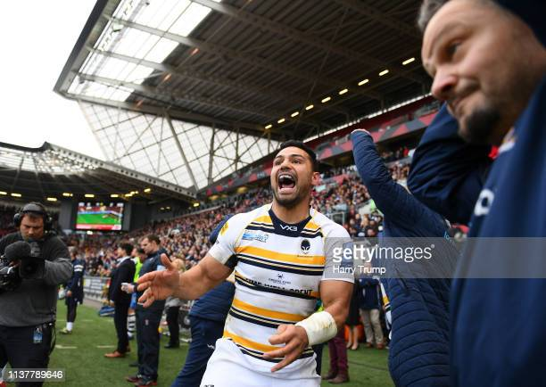 Ben Te'o of Worcester Warriors celebrates victory over Bristol Bears during the Gallagher Premiership Rugby match between Bristol Bears and Worcester...