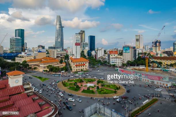 Ben Thanh Market Center viewed from above with skyscrapers is gradually shaping the development of active urbanization in Ho Chi Minh City. Minh, Vietnam