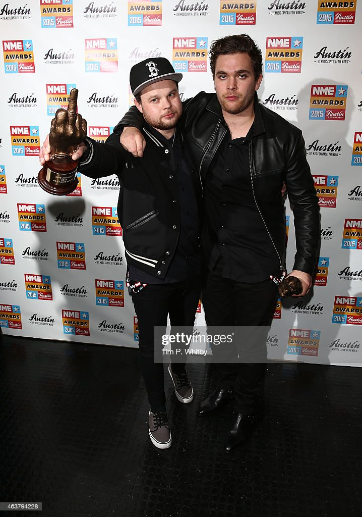 Ben Thatcher and Mike Kerr of Royal Blood pose in the winner's room at the NME Awards at Brixton Academy on February 18, 2015 in London, England.