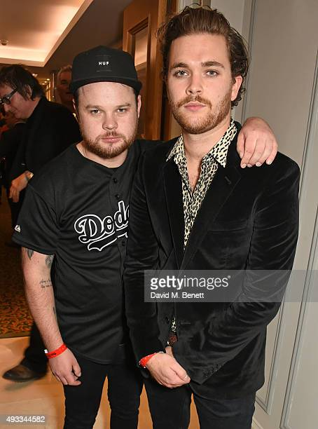 Ben Thatcher and Mike Kerr of Royal Blood winners of the Best Live Act award pose at The Q Awards at The Grosvenor House Hotel on October 19 2015 in...
