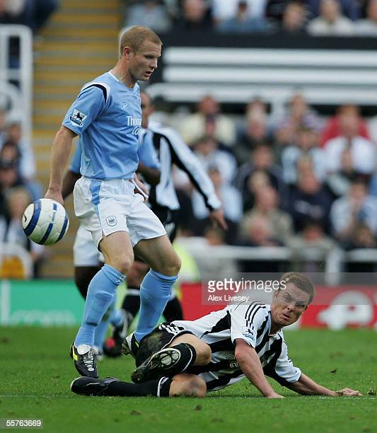 Ben Thatcher of Manchester City is tackled by Scott Parker of Newcastle United during the Barclays Premiership match between Newcastle United and...