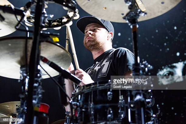 Ben Thatcher of Royal Blood performs at DTE Energy Music Theater on August 24 2015 in Clarkston Michigan