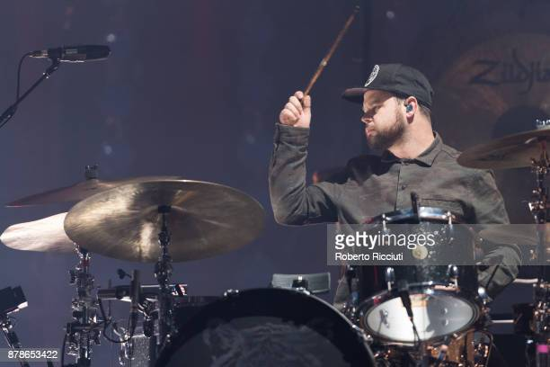 Ben Thatcher of Royal Blood performs at The SSE Hydro on November 24 2017 in Glasgow Scotland