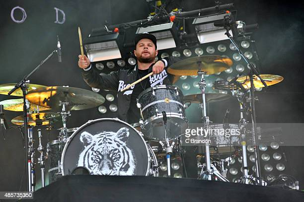 Ben Thatcher of Royal Blood performs on stage during the 2nd Day of the Reading Festival at Richfield Avenue on August 29 2015 in Reading England