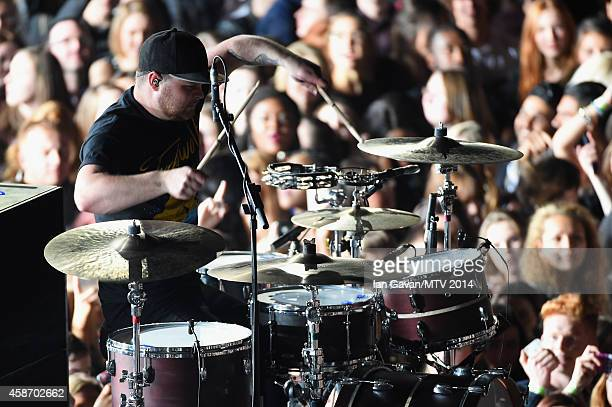 Ben Thatcher of Royal Blood performs on stage during the MTV EMA's 2014 at The Hydro on November 9 2014 in Glasgow Scotland