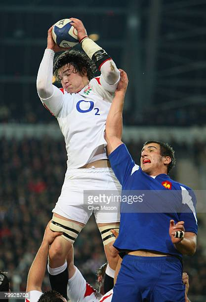 Ben Thomas of England in action during a lineout during the under 20's match between France U20 and England U20 at the Stade des Alpes on February 22...