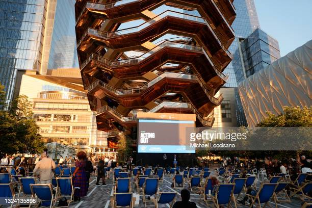 Ben Thompson and Sharon Babel speak onstage at the premiere at Acting Out Shorts during the 2021 Tribeca Festival at Hudson Yards on June 17, 2021 in...