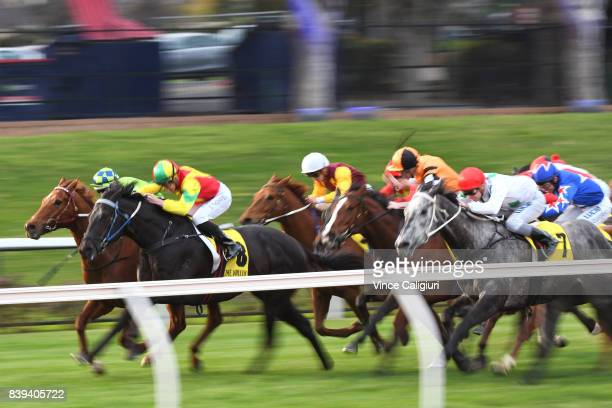 Ben Thompson riding Oak Door defeats Damian Lane riding Oberland to win Race 9 during Melbourne Racing at Moonee Valley Racecourse on August 26 2017...