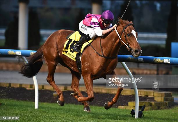 Ben Thompson riding Onpicalo wins Race 8 during Melbourne Racing at Moonee Valley Racecourse on June 18 2016 in Melbourne Australia