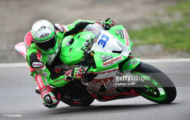 Ben Tolliday of Great Britain in action during the British Superbike Championship at Oulton Park on September 08, 2019 in Chester, England.